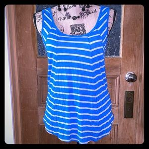 C & C CALIFORNIA Blue and Gray Striped Tank Top